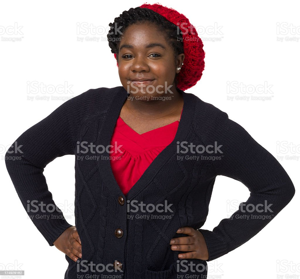 Portrait of Young Woman With Arms Akimbo royalty-free stock photo