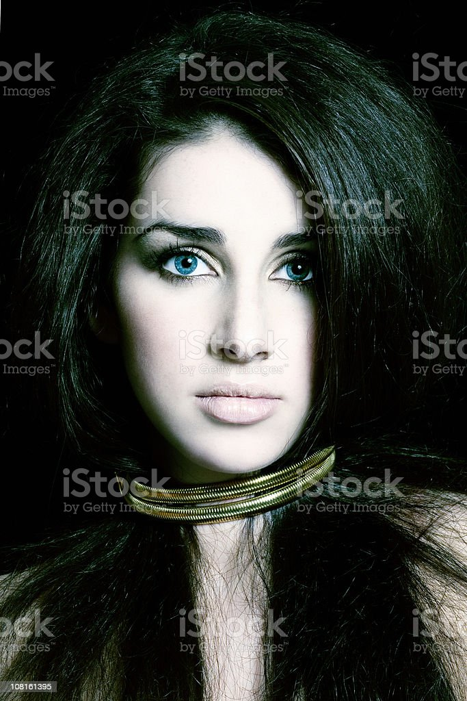 Portrait of Young Woman with Dark Hair royalty-free stock photo