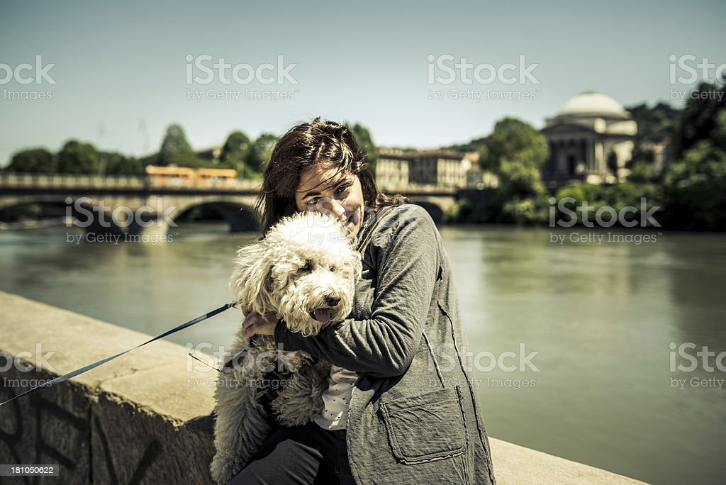 Portrait of Young Woman with Dog royalty-free stock photo