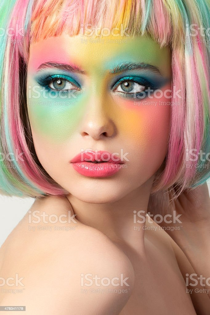 Portrait of young woman with funny make-up stock photo