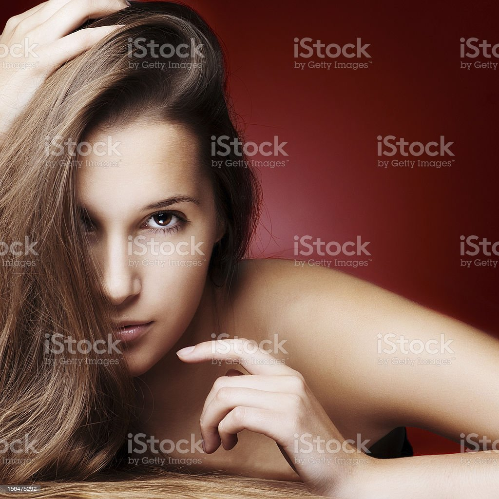 Portrait of Young Woman with Long Brown Hair royalty-free stock photo