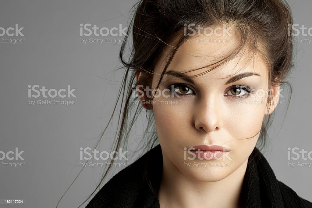 Portrait of young woman with natural make-up stock photo