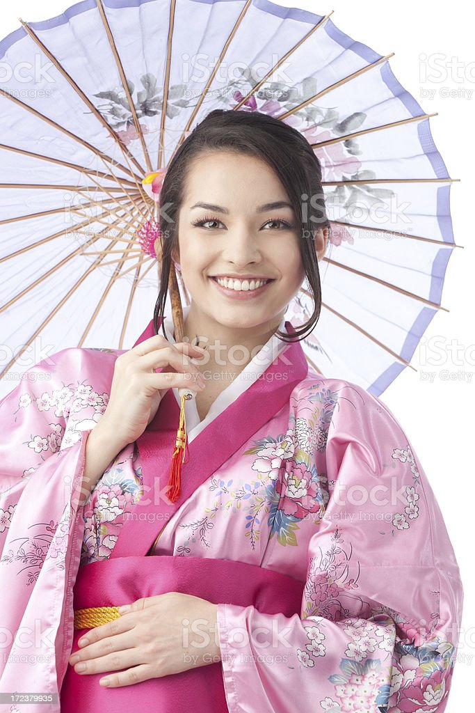 Portrait of Young Woman with umbrella in Kimono Dress. royalty-free stock photo