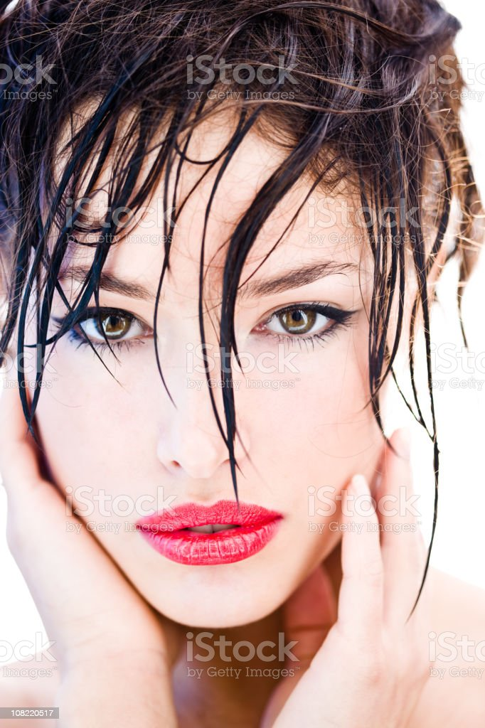 Portrait of Young Woman with Wet Hair royalty-free stock photo