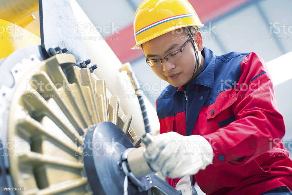 Portrait of young worker stock photo