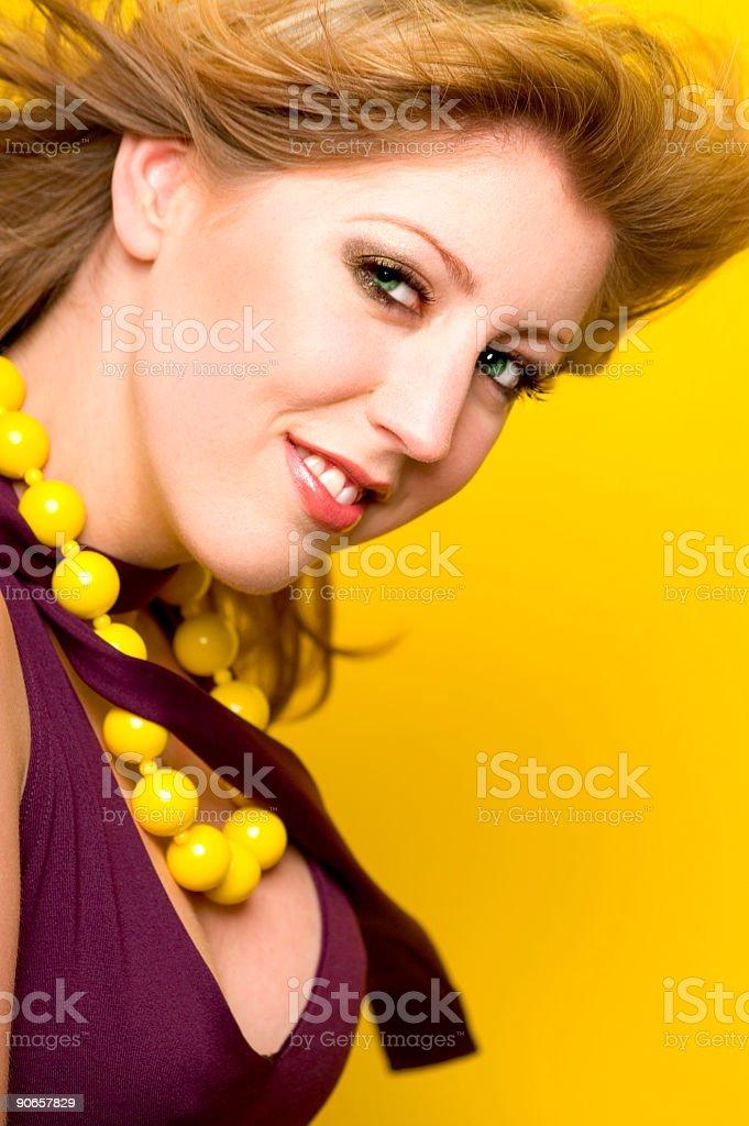 Portrait On Yellow stock photo