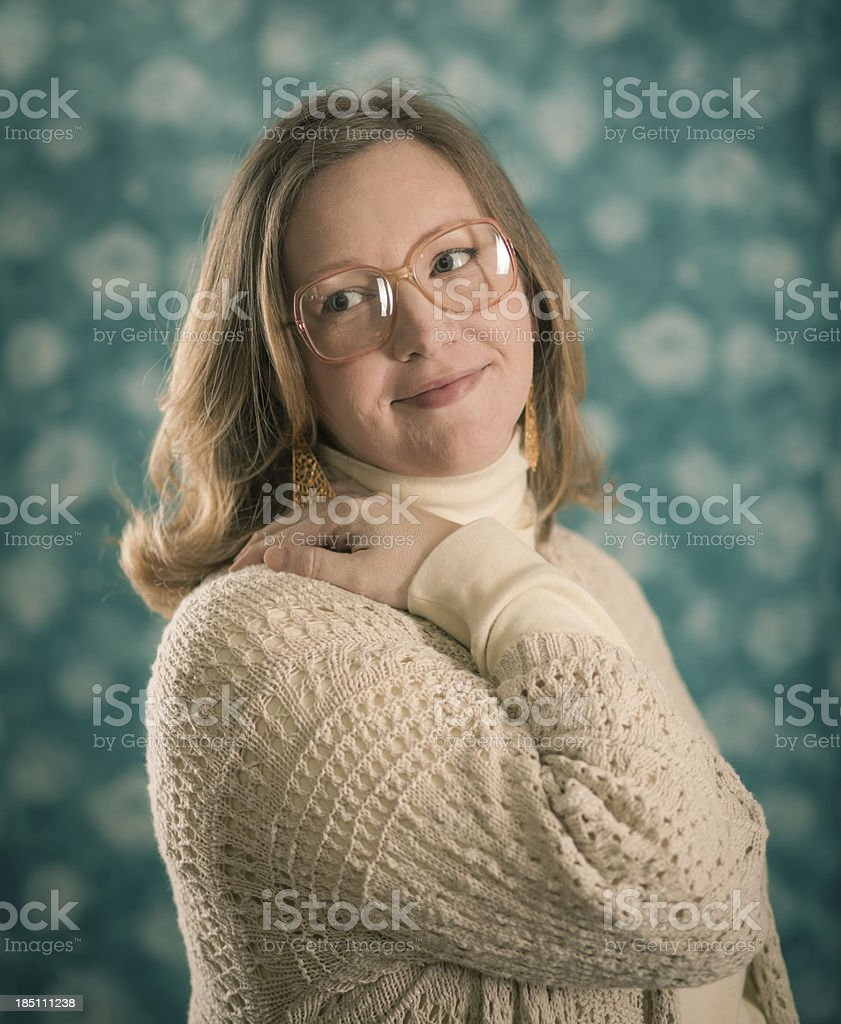 Portrait Photograph of Blond Woman Wearing Large Glasses 3 royalty-free stock photo