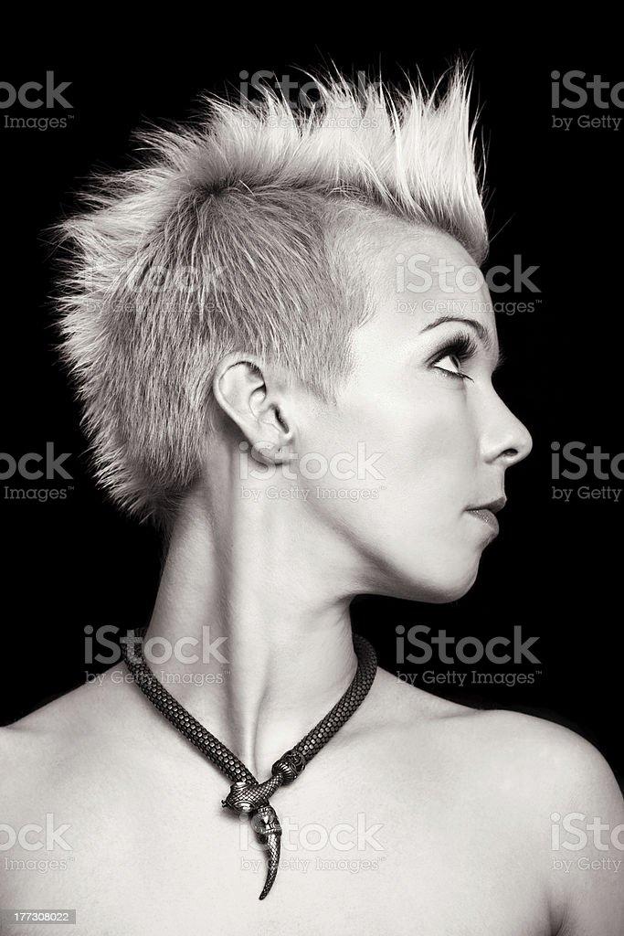 portrait profile of a beautiful woman royalty-free stock photo