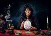 Portrait psychic with big crystal egg