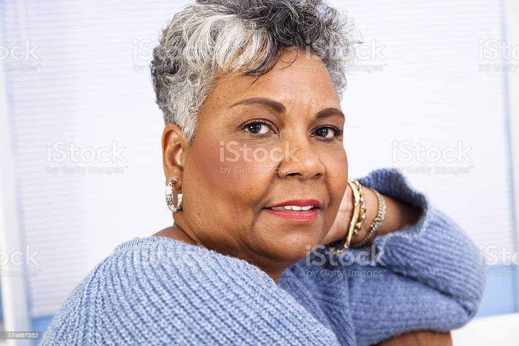 Portrait:  Senior African decent woman posing for camera royalty-free stock photo