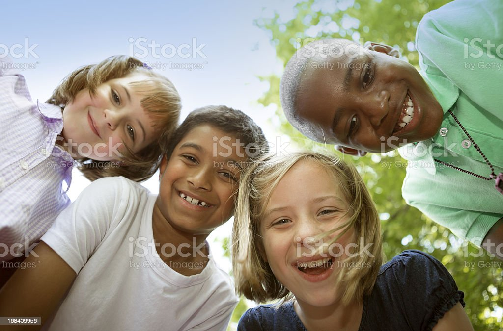 Portrait Small Group of Children stock photo