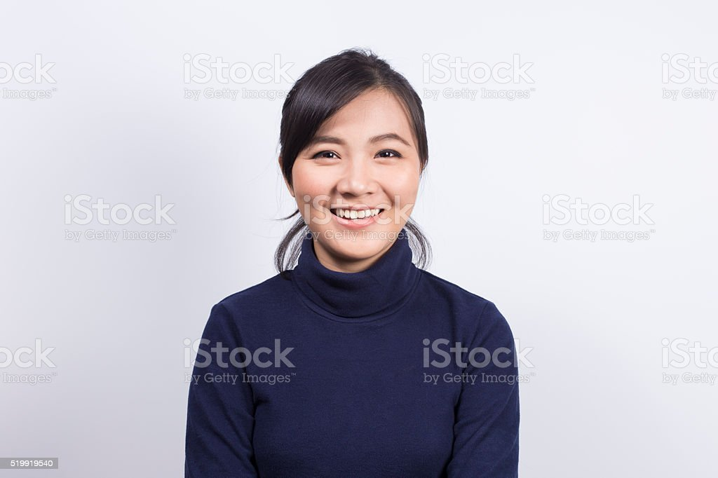 Portrait: Smile of woman on isolated white background stock photo