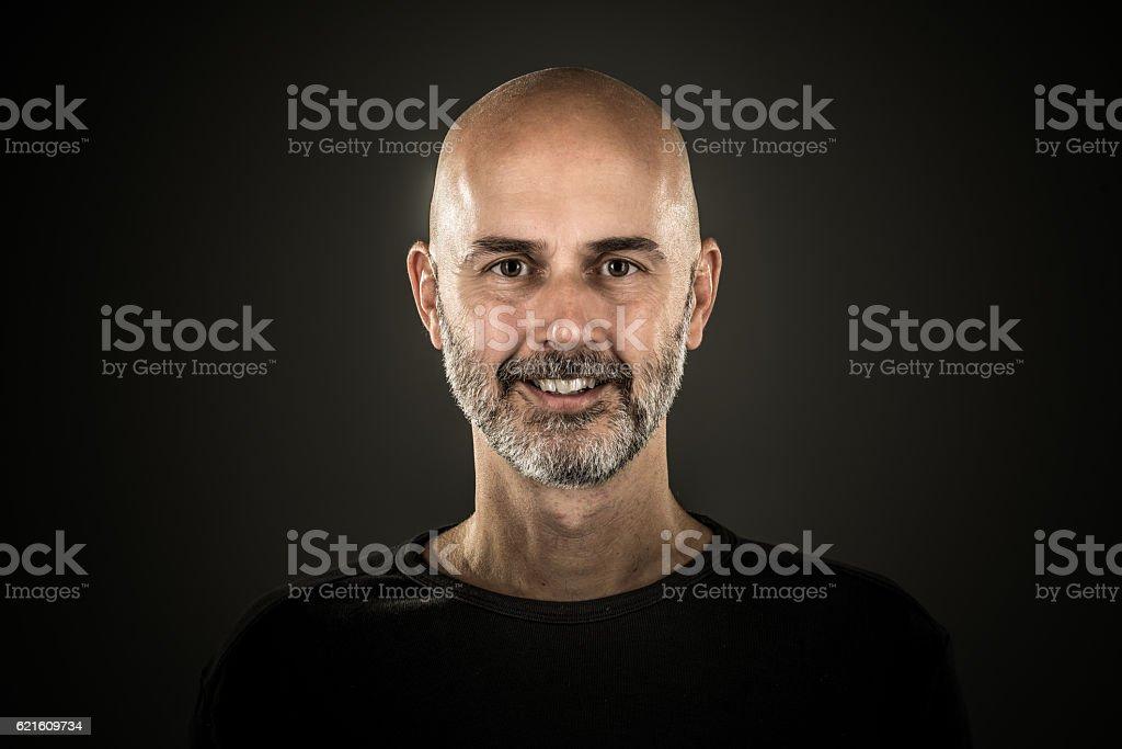portrait smiling man with beard stock photo