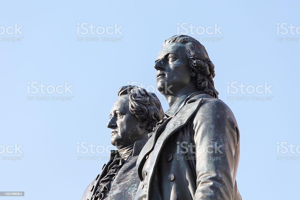 portrait statues of poets Goethe and Schiller in Weimar stock photo