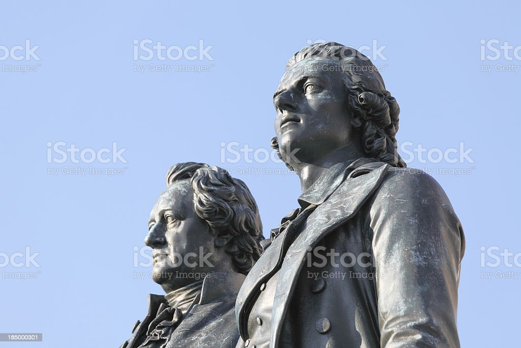 portrait statues of poets Goethe and Schiller in Weimar royalty-free stock photo