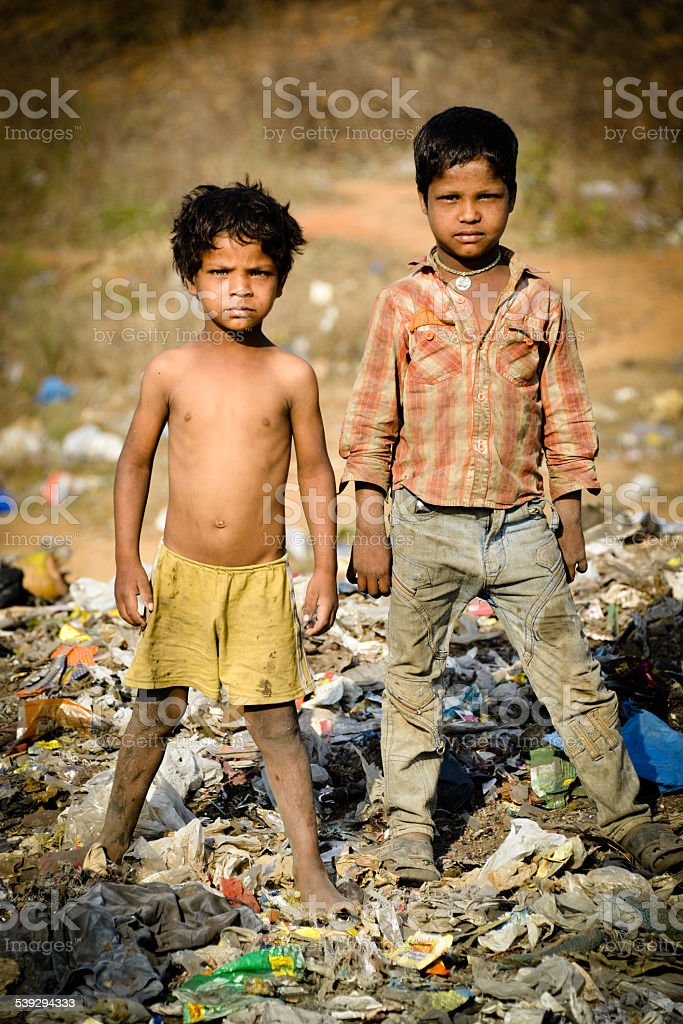 Portrait Two  Rural Indian Asian Children stock photo