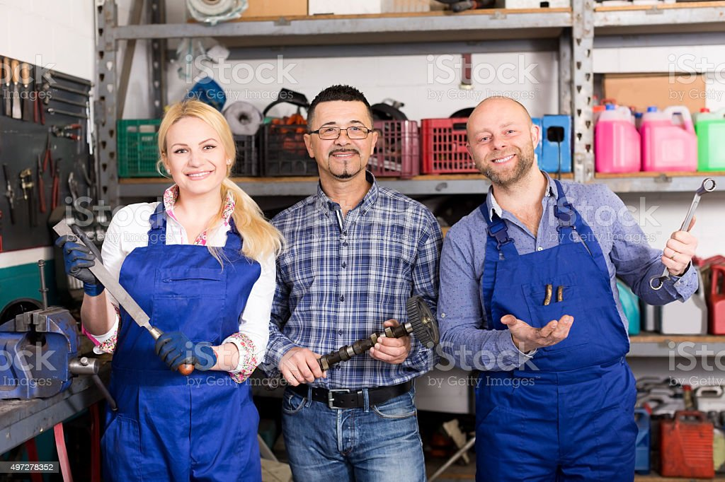 Portrait two workers and superviser stock photo