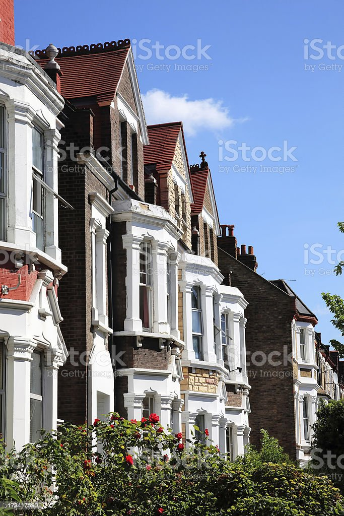 Portrait view of Victorian terraced houses royalty-free stock photo