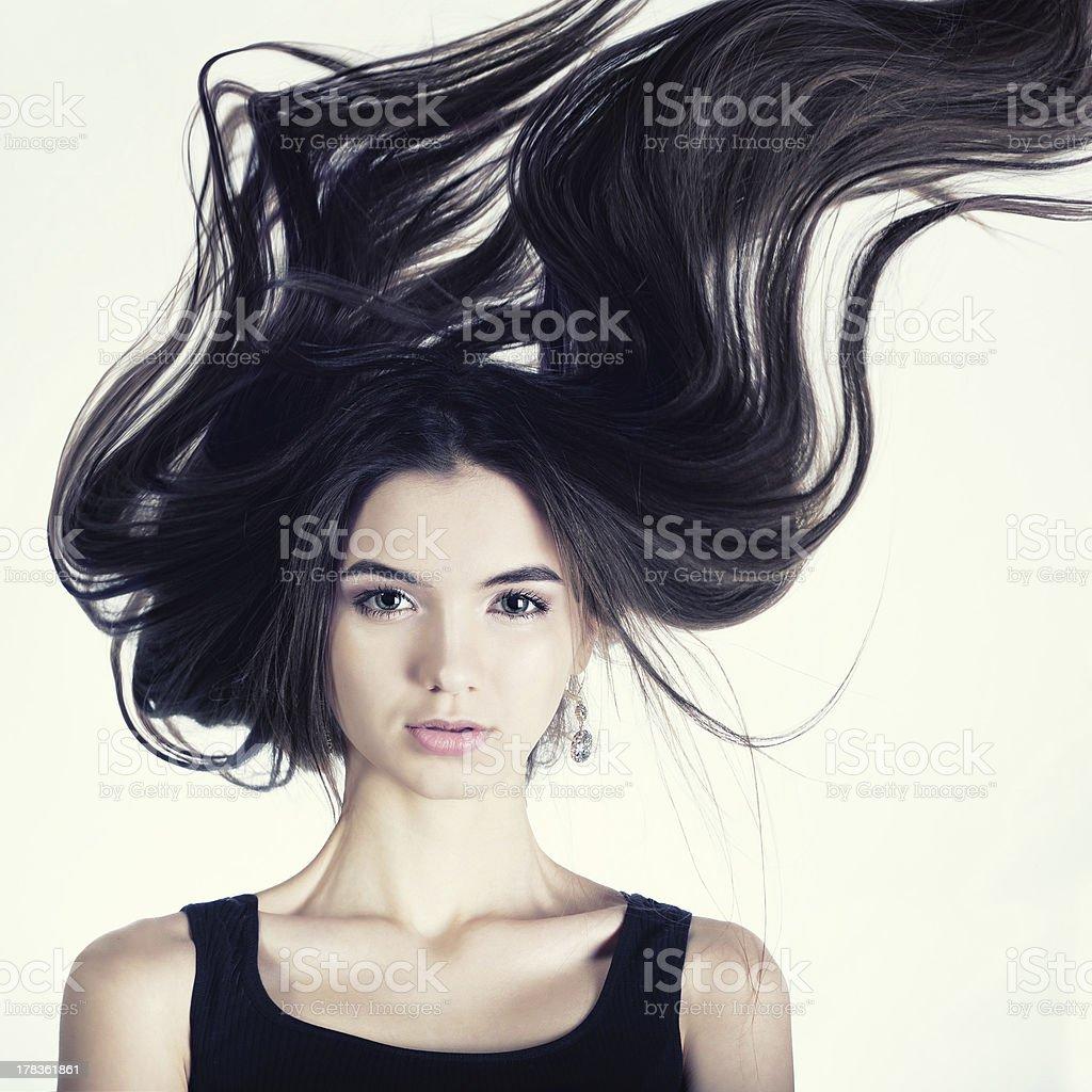 Portrait windy girl stock photo