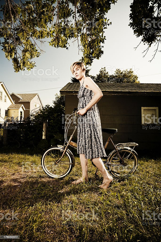 Portrait with a bicycle. stock photo