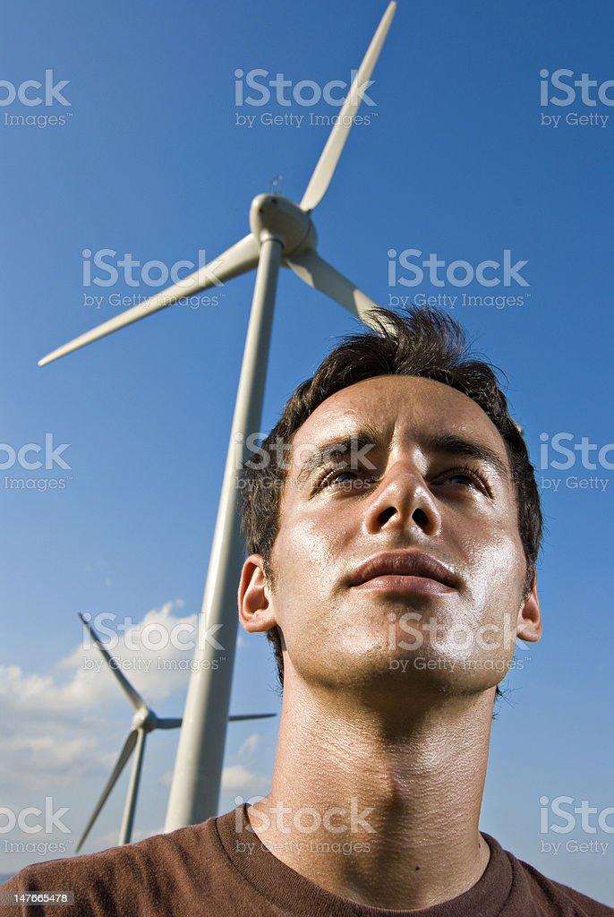 portrait with aerogenerators stock photo