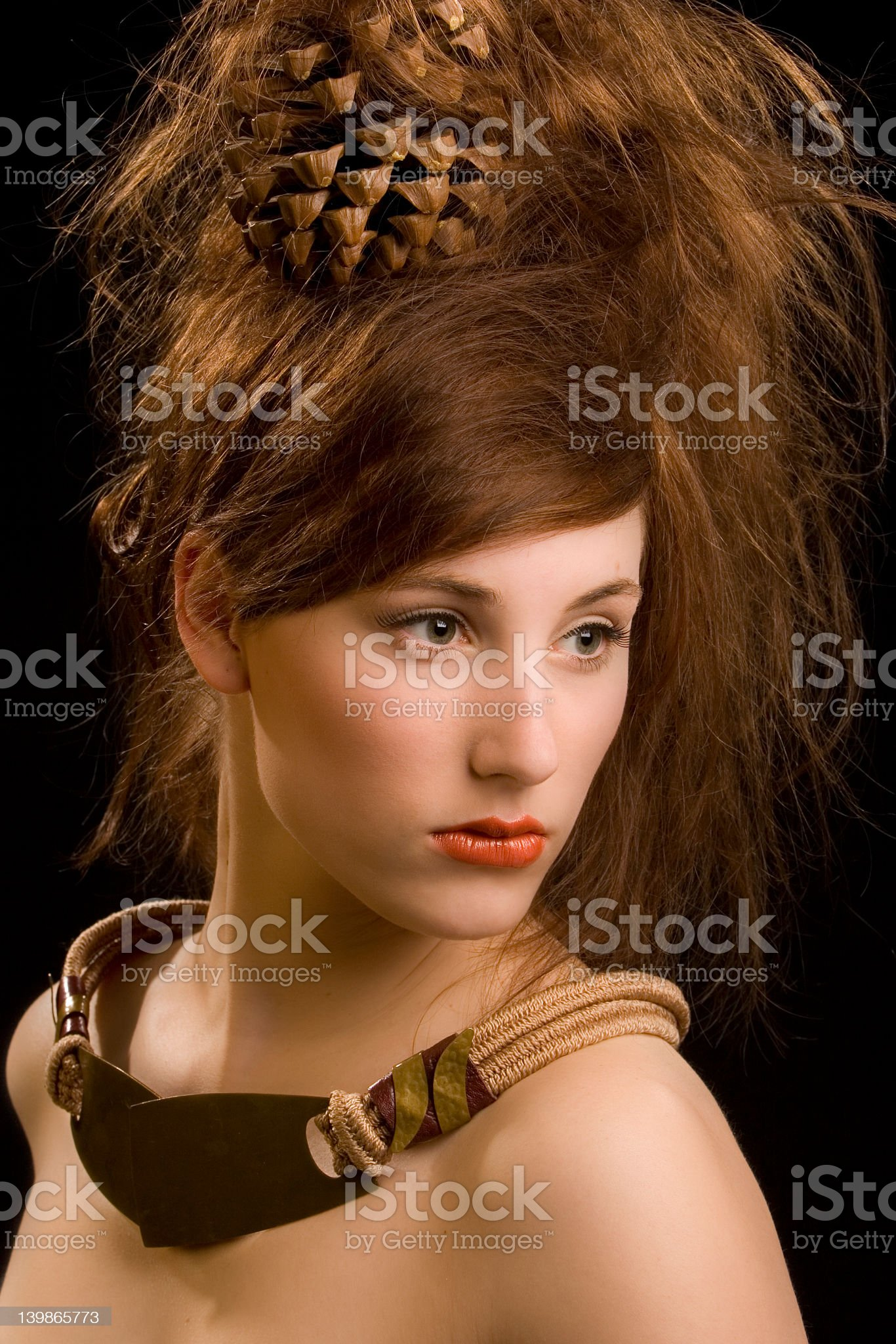 Portrait with extreme hairstyling royalty-free stock photo