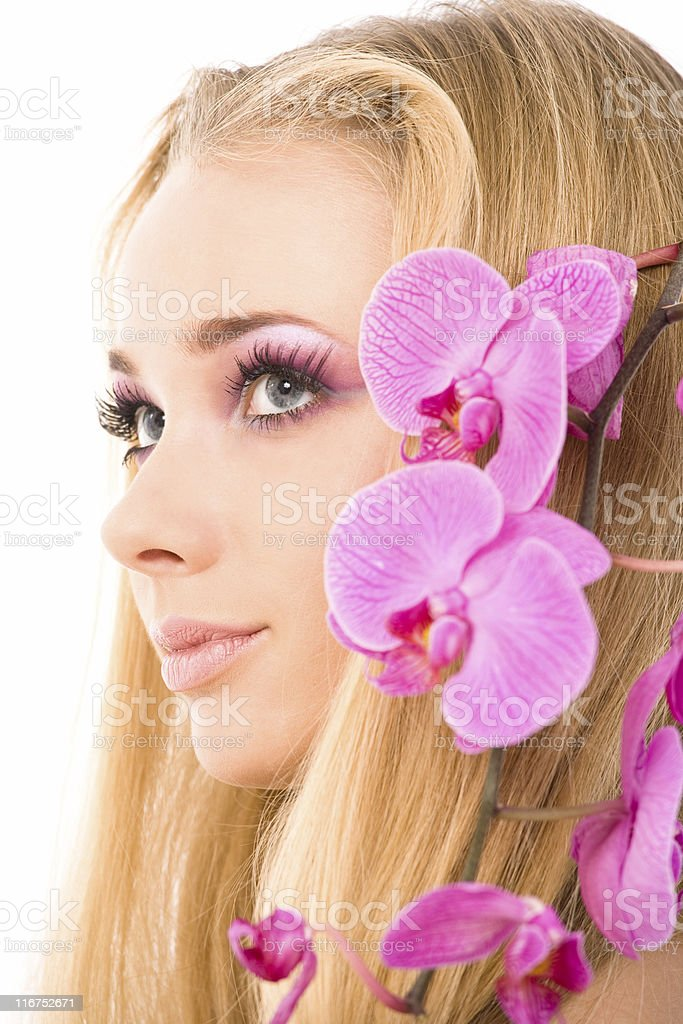 Portrait with flowers royalty-free stock photo