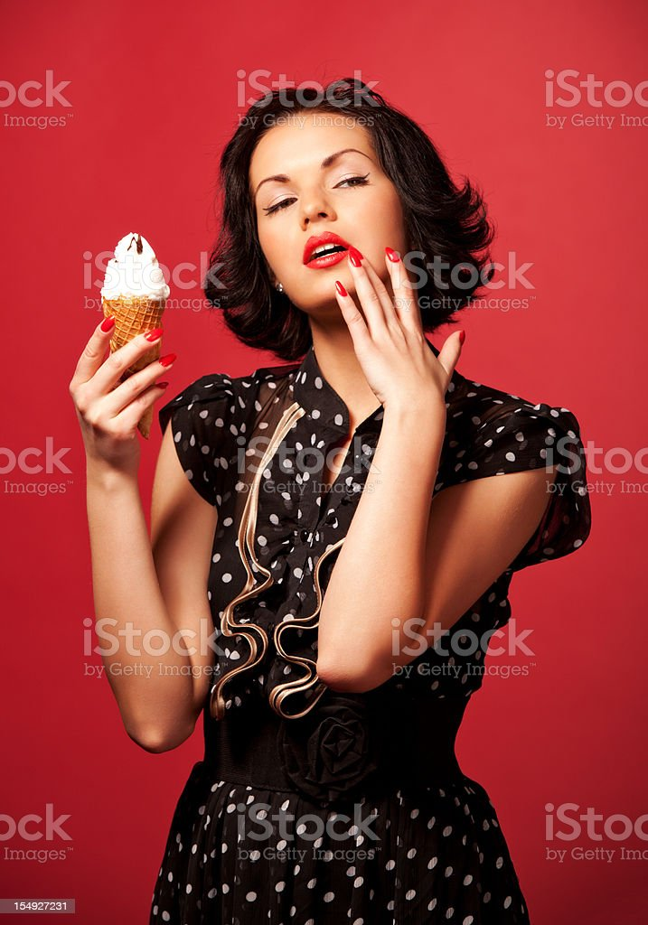 Portrait with ice cream stock photo