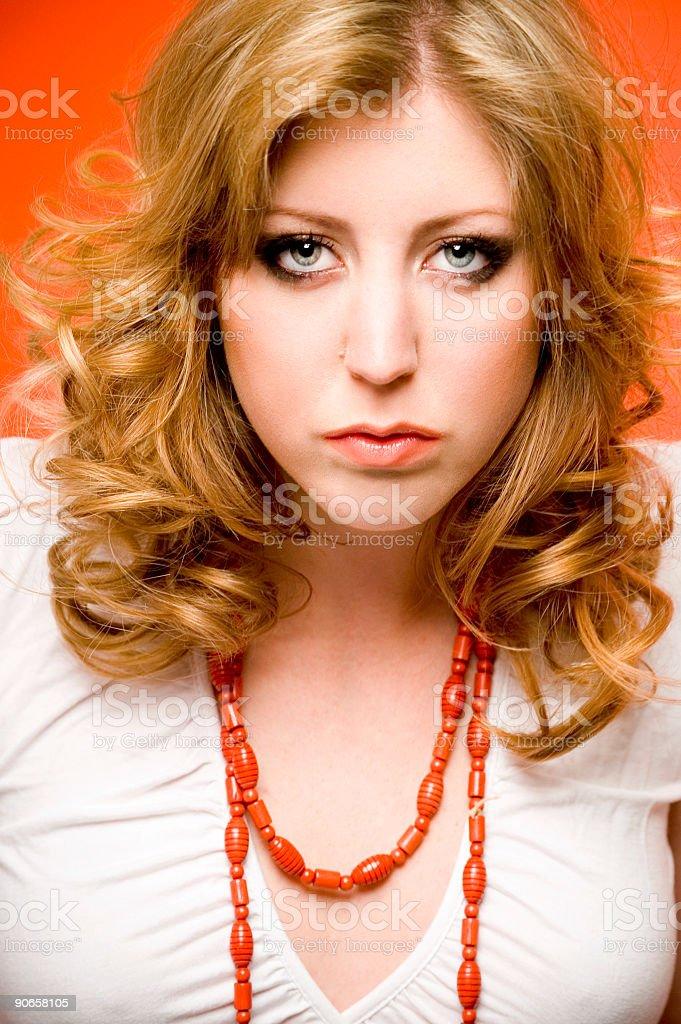Portrait With Orange Accents stock photo