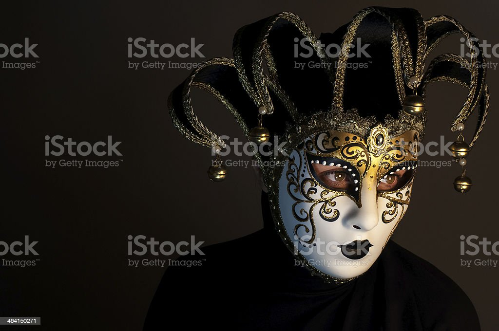 portrait with Venice mask stock photo