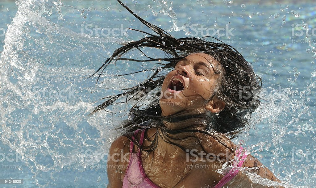 portrait with water splash in the pool royalty-free stock photo
