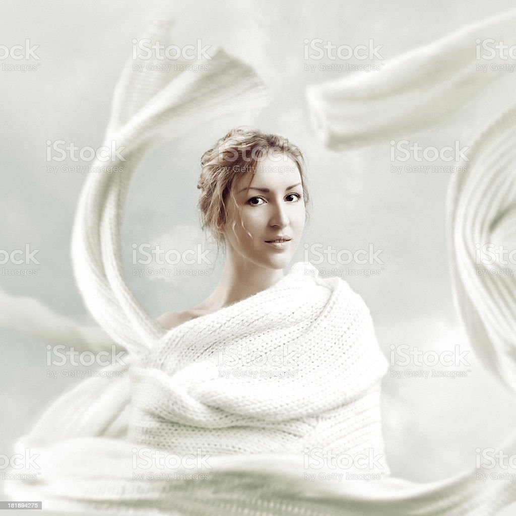 Portrait with white scarf stock photo