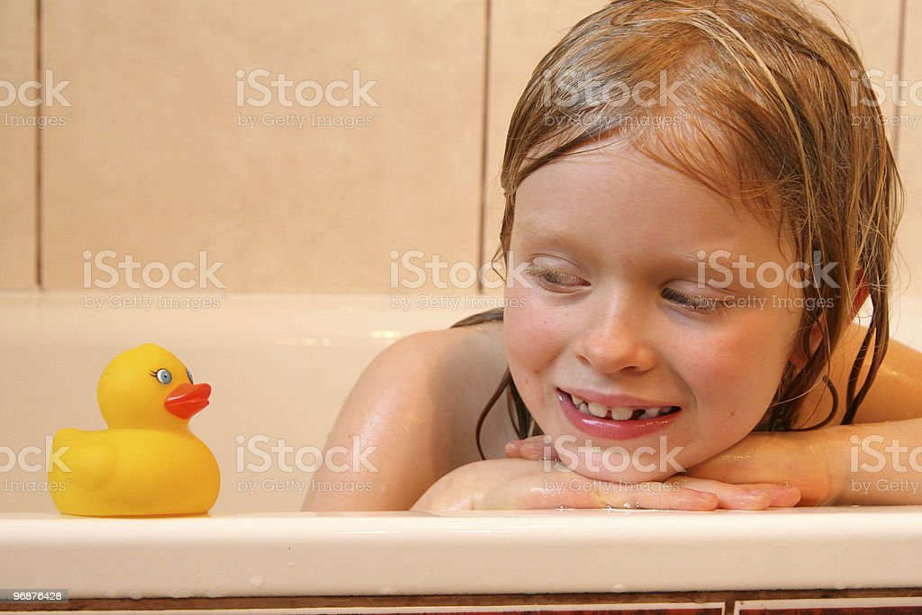 Portrait with yellow duck royalty-free stock photo