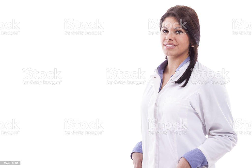 Portrait woman in white robe stock photo