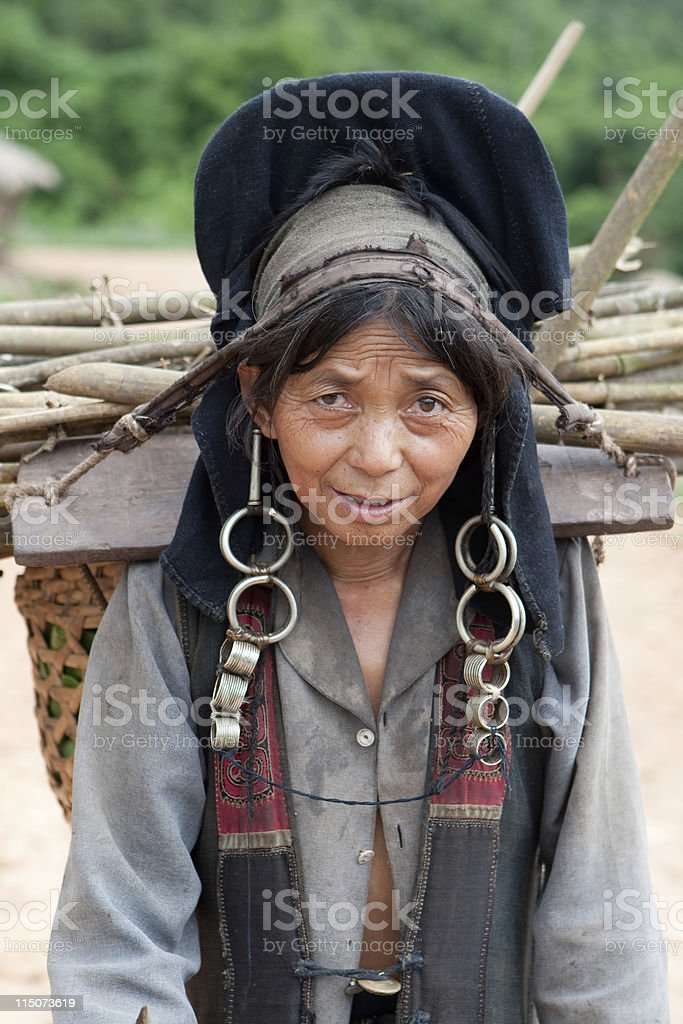 Portrait woman of Akha in Laos stock photo