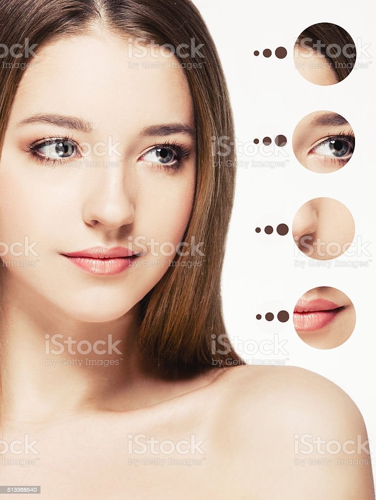 Portrait woman with problem and clear skin stock photo