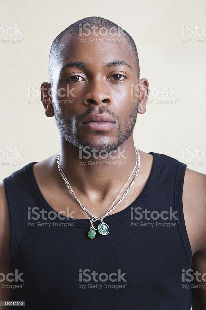 Portrait: Young African European Man stock photo