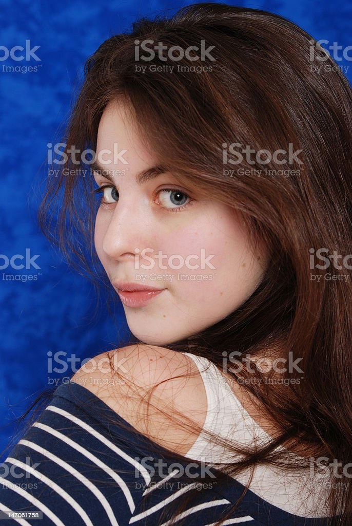 Portrait young beautiful girl in studio royalty-free stock photo
