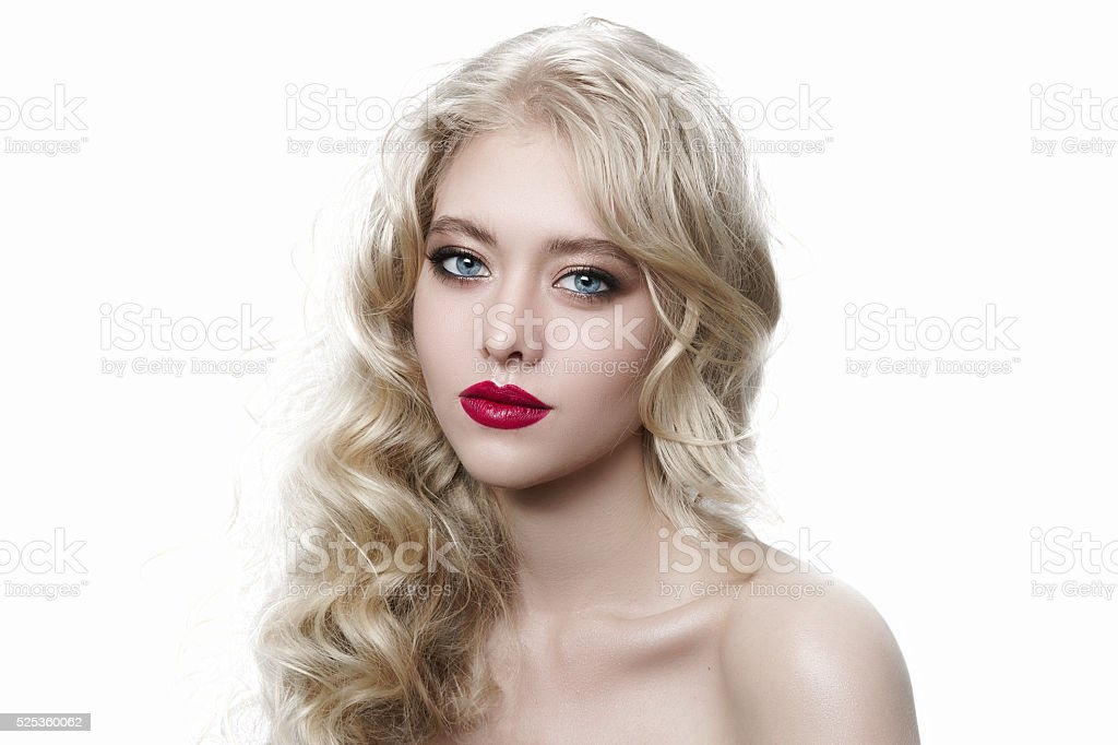 Portrait young beautiful girl with high-fashion make-up and red lips stock photo