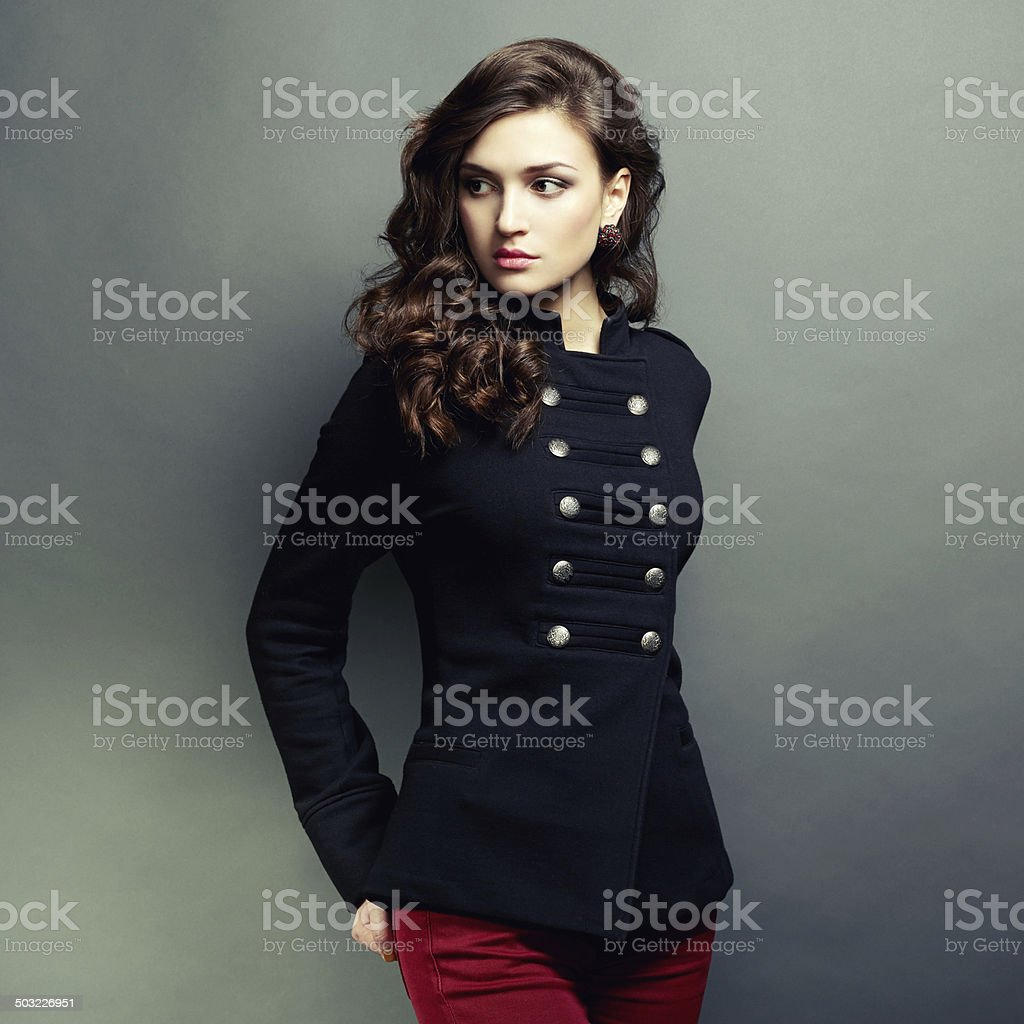 Portrait young beautiful woman with curly hair stock photo