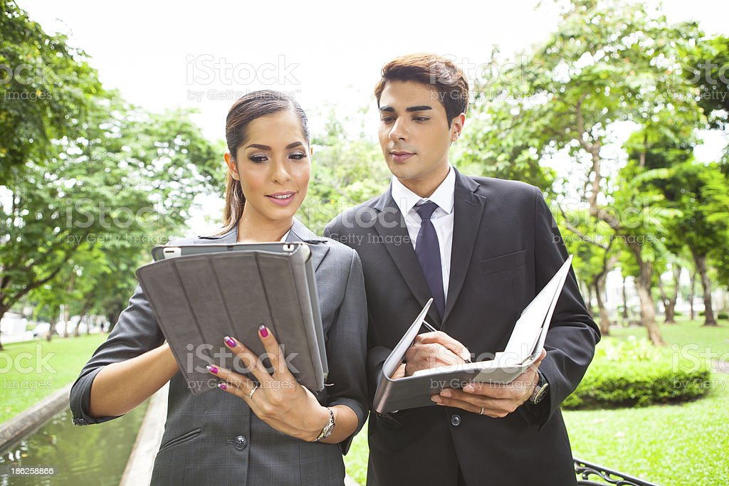 Portrait young businesspeople working outdoor royalty-free stock photo