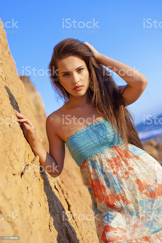 Portrait Young fashion woman at beach royalty-free stock photo