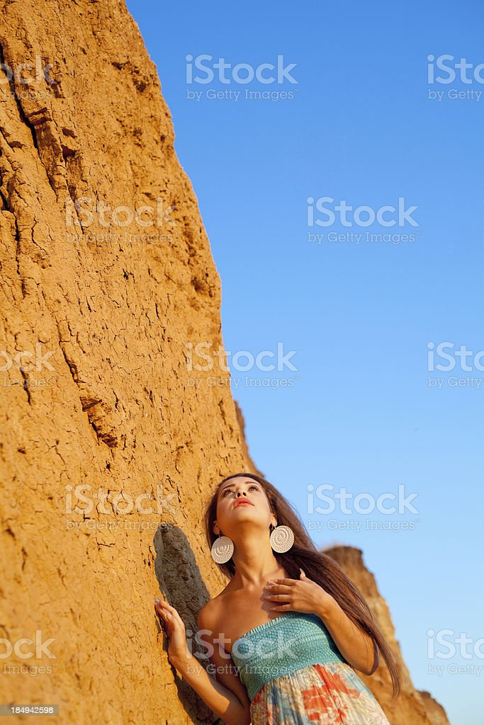 Portrait Young fashion woman at beach stock photo