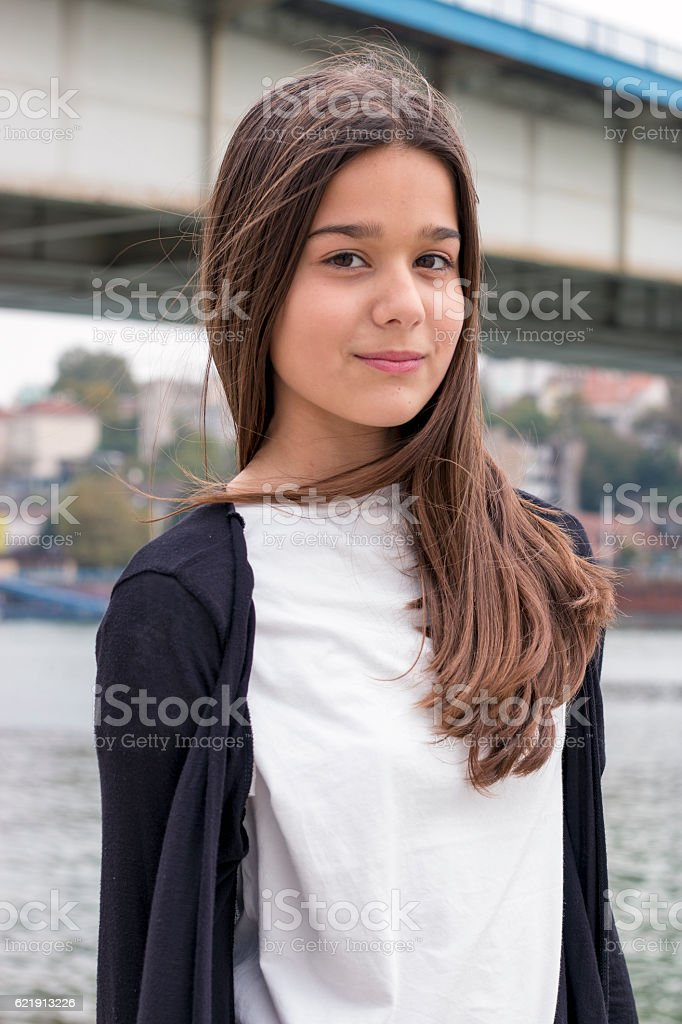 Portrait young girls near the river stock photo