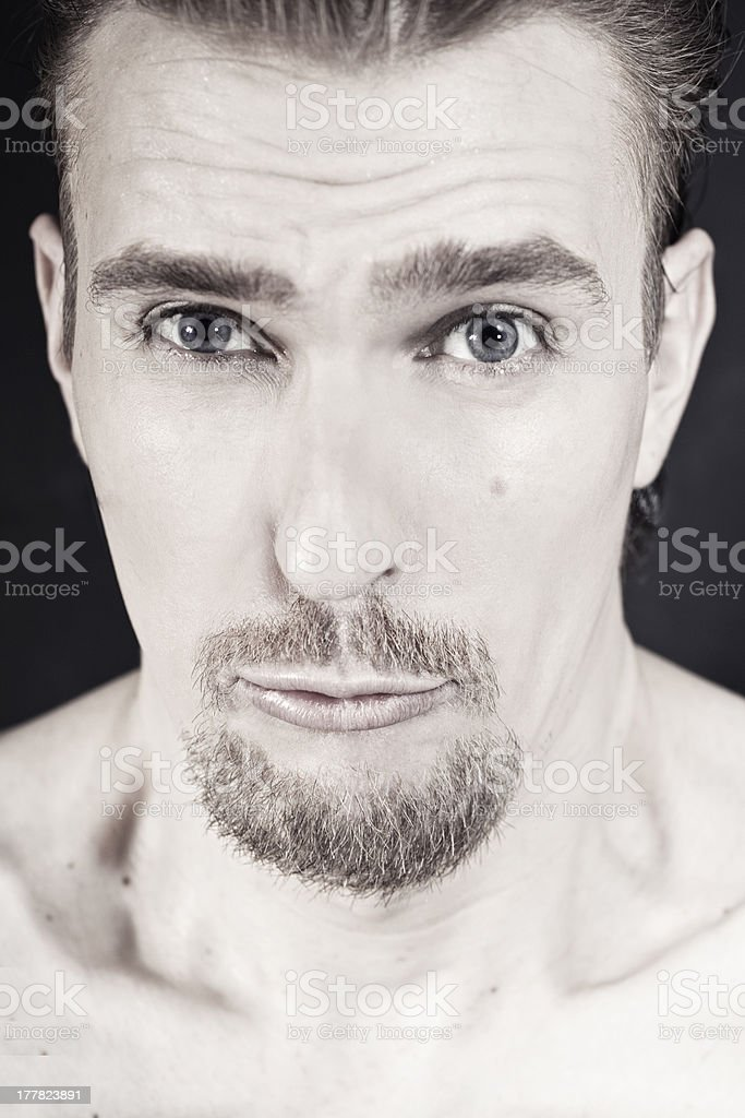 Portrait young man with funny face royalty-free stock photo