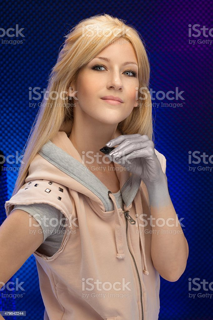 Portrait young women  Masters of digital photo editing   Post-processing business stock photo