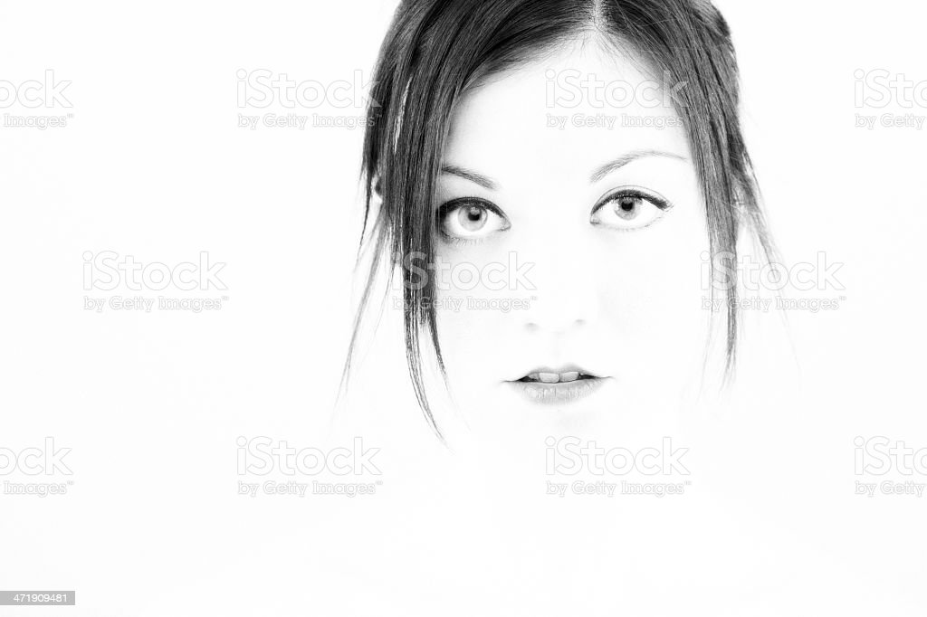 Portraits: Beautiful portrait of young woman in black and white. royalty-free stock photo