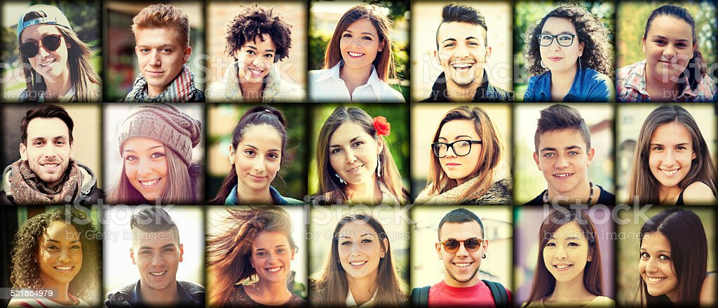 Portrait's collage of mixed race young people stock photo