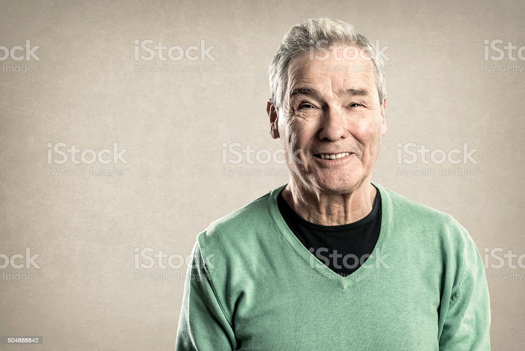 Portraits of an Elderly Man - Expressions -  Happy Smiling stock photo