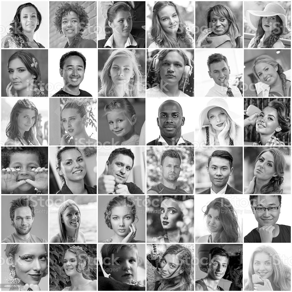 Collage of headshot portraits of different people.